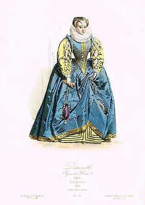 "Pauquet's Modes - ""DAMOISELLE"" - Hand-Colored Litho -1864"