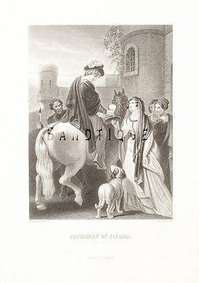 "Aubrey's HISTORY - Antique Print -1870- ""TREACHERY OF ELFRIDA"""