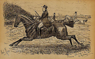 """Fores's Sporting Notes & Sketches"" - ""OLD DAYS ON THE VALE"" - Litho - 1886 - Sandtique-Rare-Prints and Maps"