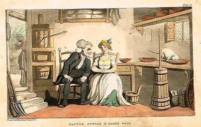 "Dr. Syntax - ""SYNTAX & DAIRY MAID"" - Hand-Colored  Aquatint- 1819"