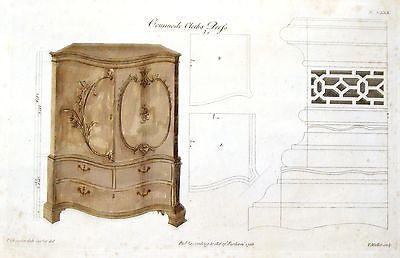 "Chippendale's Design - ""COMMODE CLOTHS PRESS"" - Hand-Col. Engraving -1762"