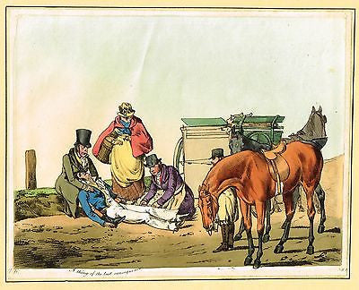 "Alken's Sports Print- ""HORSE & CARRIAGE ACCIDENT"" - Hand-Colored Aquatint - 1820 - Sandtique-Rare-Prints and Maps"