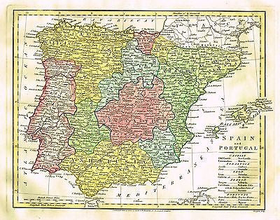 Map Of Spain To Print.Wilkinson Map Spain And Portugal Hand Colored Engraving 1808