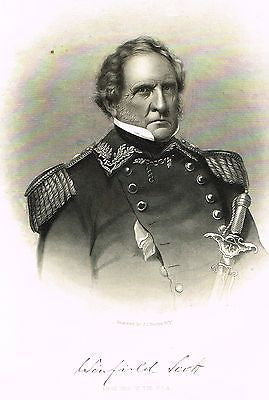 "Abbott's Civil War - ""GENERAL WINFIELD SCOTT - Younger"" - Steel Engraving - 1865 - Sandtique-Rare-Prints and Maps"