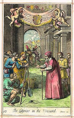 "Blome's Bible History- ""LABORERS IN FIELD"" by Kip - Hand-Colored Engraving -1701"
