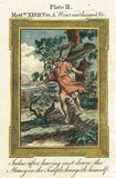 Bankes' Bible,  JUDAS HANGS HIMSELF - Hand-Col. Eng. - c1760