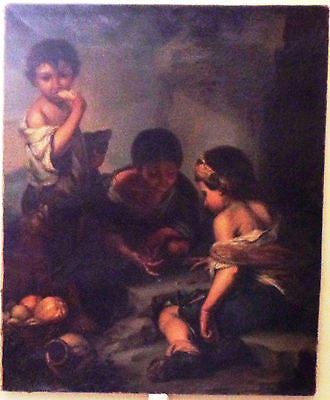 Very Fine Oil Painting after Murillo - BEGGAR BOYS PLAYING DICE - c 1700