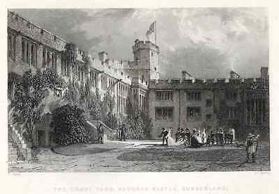 "Allom's - ""COURT YARD, NAWORTH CASTLE, CUMBERLAND"" - Steel Engraving - 1840 - Sandtique-Rare-Prints and Maps"