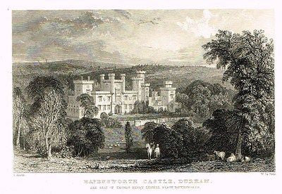 "Allom's Northern Tourist - ""RAVENSWORTH CASTLE, DURHAM"" - Steel Eng. - 1832 - Sandtique-Rare-Prints and Maps"