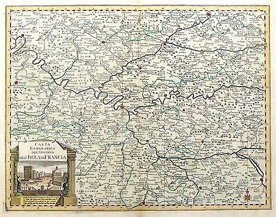 "Albrizzi's Paris Map - ""CARTA ISOLA DI FRANCIA"" - Hand-Colored Engraving - 1740 - Sandtique-Rare-Prints and Maps"