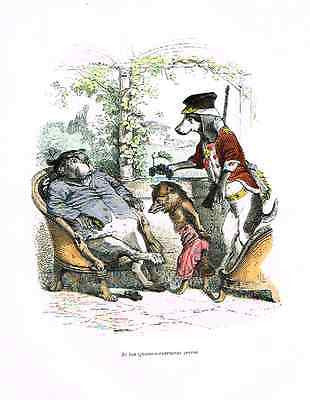 Grandville Print - THE FOX WAS ARRESTED- Colored Litho - 1842