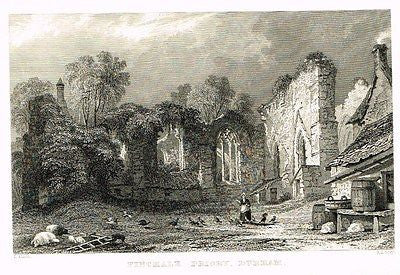 "Allom's - ""FINCHALE PRIORY, DURHAM"" - Steel Engraving - 1832 - Sandtique-Rare-Prints and Maps"