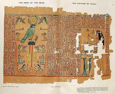 Budge's Book of the Dead  - PAPYRUS OF ANHAI (Isis & Nephthys)- Chromo -1899