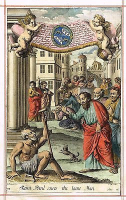 "Blome's Bible History- ""ST. PAUL CURES LAME MAN"" - H-C Eng -1701"