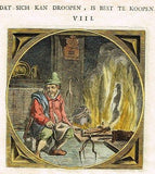 "Jacob Cats -1655- ""MAN COOKING ROAST IN FIREPLACE"" - Antique Print"