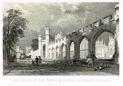 "Allom's - ""PALACE OF BISHOP OF DURHAM AT BISHOP AUCKLAND"" - Steel Eng. - 1832 - Sandtique-Rare-Prints and Maps"