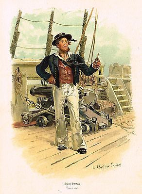 "Chromolithograph Print - ""BOATSWAIN"" by Symons - Antique Print - c1880"