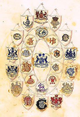 "One of a Kind Print from ""BOOK OF CRESTS"" - EARL SPENCER - c1850"