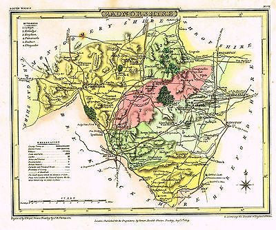 "Thompsos 'Map from Beauties of England' - ""RADNORSHIRE"" - H-Col Eng -1809"
