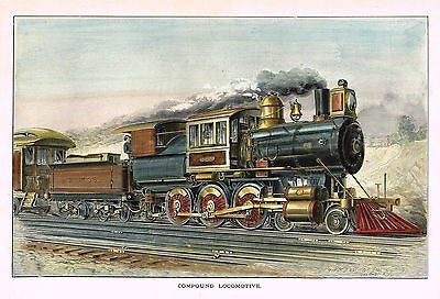 """COMPOUND LOCOMOTIVE"" - from 'The American railroad Journal' - Chromo - 1891 - Sandtique-Rare-Prints and Maps"