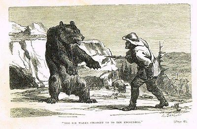 Hunting Grounds - THE FIN WALKS UP TO THE BEAR - Woodcut - 1868