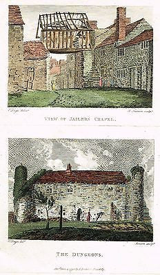 "Aikin's - ""JAILER'S CHAPEL VIEW & DUNGEONS"" - Hand Col'd Copper Engraving - 1795 - Sandtique-Rare-Prints and Maps"