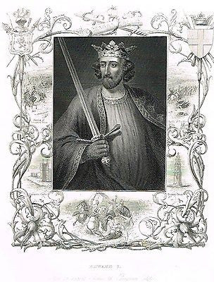 "Royal Portrait -  ""EDWARD I"" (AT CARNARVON) - Antique Print - c1845"