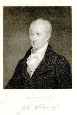 """Gallery of Distinguished Americans"" - ""GILBERT STUART"" - Steel Eng. -1835 - Sandtique-Rare-Prints and Maps"