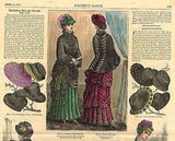 """Harper's Bazar"" - ""4 DRESSES & MANY HATS"" - H/Colored Engraving - 1883"