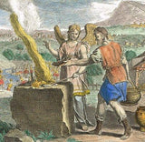 Bankes' Bible GIDEON'S MEAT CONSUMED BY FIRE - H-Col. Eng. - c1760