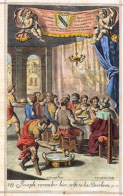 "Blome's Bible History- ""JOSEPH REVEALS HIMSELF"" - Hand-Colored Engraving -1701"