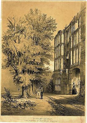 """SUDELEY CASTLE, THE PROPERTY OF W. & J. DENT"" - Tinted Lithograph - c1800 - Sandtique-Rare-Prints and Maps"