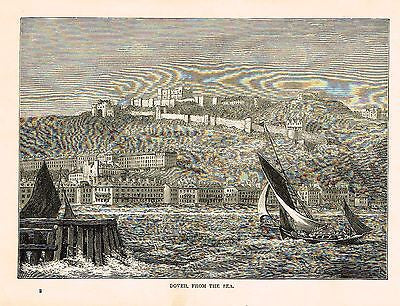 """DOVER FROM THE SEA"" - Lithograph - c1880 - Sandtique-Rare-Prints and Maps"