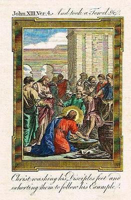 Bankes' Bible CHRIST WASHING DISCIPLES FEET - H-Col. Eng. - c1760