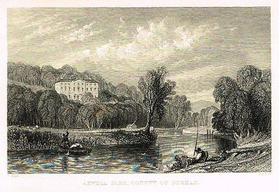 "Allom's Northern Tourist - ""AXWELL CASTLE, COUNTY OF DURHAM"" - Steel Eng. - 1832 - Sandtique-Rare-Prints and Maps"