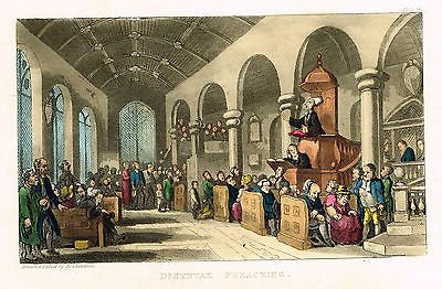 "Dr. Syntax - ""PREACHING"" - Hand-Colored  Aquatint- 1819"