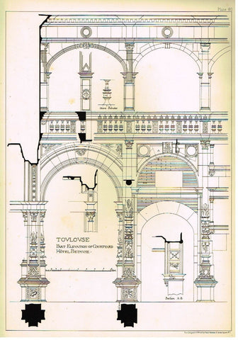 Architecture in Spain  -1893-  TOULOUSE  LYCEE IMPERIAL -Antique Print