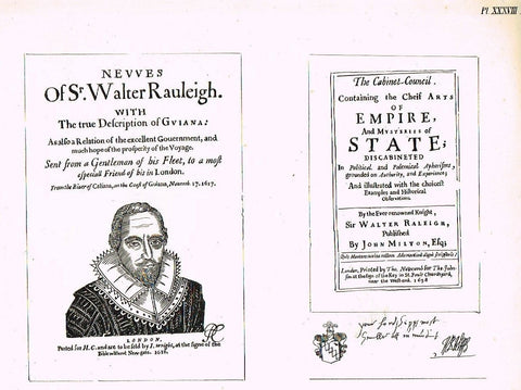 American Curiosities  1860   SIR WALTER RALEIGH TITLES  Antique Engraving - Sandtique-Rare-Prints and Maps