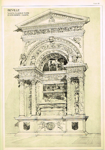 Architecture in Spain - 1893 -  SEVILLE, UNIVERSITY TOMBS - Antique Print