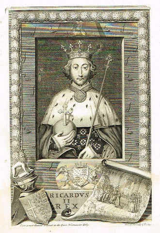 "History of England by De Thoyras   ""RICHARD II""   Antique Print - 1745"