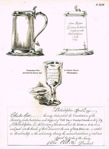 American Curiosities  1860  COMMUNION PLATE, PHILI 1798  Antique Engraving - Sandtique-Rare-Prints and Maps