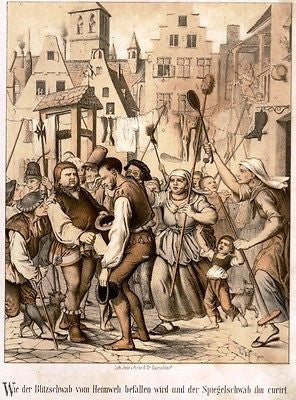"""Rubezahl"" German Folklore Chromolithograph -1856- RUBEZAHL AT THE MARKET - Sandtique-Rare-Prints and Maps"