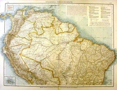 Andree's Atlas, Chromo -1893- SOUTH AMERICA - NORTHERN - Sandtique-Rare-Prints and Maps