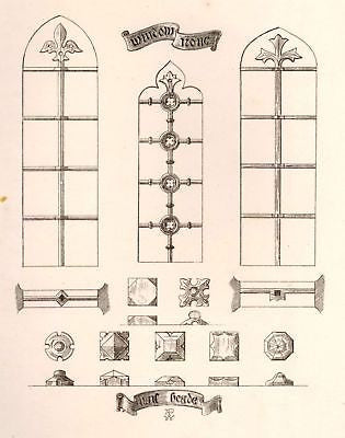 A. Pugin's Litho Iron & Brass Design-1835- WINDOW IRON - Sandtique-Rare-Prints and Maps