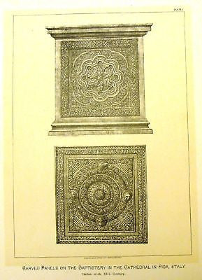 Art Furniture -1880- CARVED PANELS IN PISA CHURCH - Antique Print