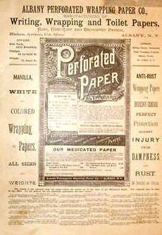 Albany N.Y. Advertisng -1886- ALBANY PERFORATED PAPER - Sandtique-Rare-Prints and Maps