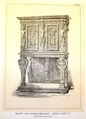 Art Furniture Litho -1880- BUFFET WITH CARVED ORNAMENT - Antique Print