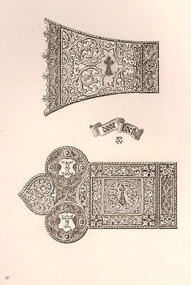 A. Pugin's Litho Iron & Brass Design -1835- DOOR LOCK - Sandtique-Rare-Prints and Maps
