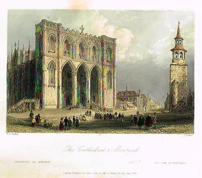 "Bartlett Hand Colored Engraving - ""THE CATHEDRAL, MONTREAL"" c1840 -"