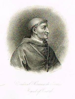 """CARDINAL XIMENES DE CISNERO, REGENT OF CASTILE"" - Fancy Steel Engraving - c1835 - Sandtique-Rare-Prints and Maps"
